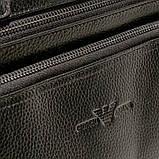 Чоловіча шкіряна сумка-портфель Armani 6619-3 чорна для ноутбука документів, фото 7