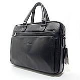 Чоловіча шкіряна сумка-портфель Armani 6619-3 чорна для ноутбука документів, фото 10