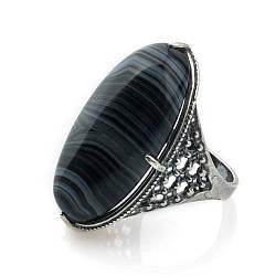 Кольцо sherl агат черный мельхиор Черный кл-агч-001, КОД: 1289974