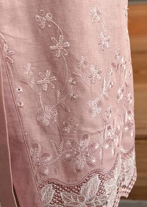 Стильное платье-рубашка из льна розового цвета Размеры:  52-54, 54-56, 56-58, 58-60, 60-62, фото 2