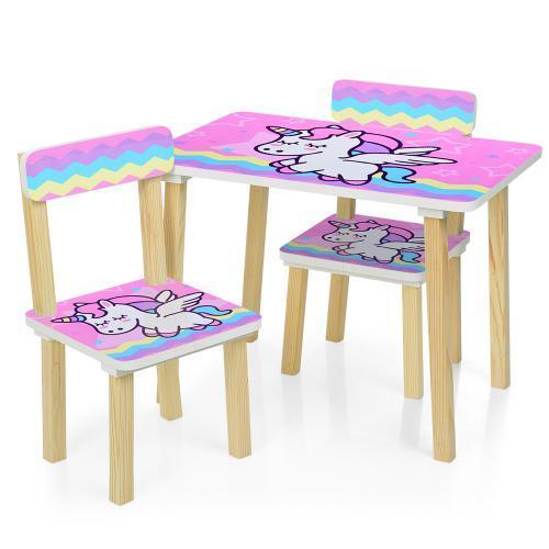 Детский столик 501-65 со стульчиками Единорог розовый
