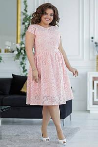 """Приталенное миди-платье в цветочек """"ТРИША"""" с расклешенной юбкой (большие размеры)"""