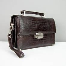 Коричнева шкіряна барсетка чоловіча сумка Desisan 1081-142 класична з натуральної шкіри