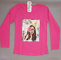 Лёгкий  малиновый реглан свитшот с девочкой для девочки 7, 8, 9, 10, 11, 12 лет, фото 1