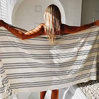 Пештемаль из хлопка и льна, пляжное полотенце, парео, пляжный коврик, полотенце для бани, полотенце для сауны, фото 1
