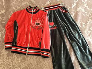 Спортивный велюровый костюм в красном цвете для девочки