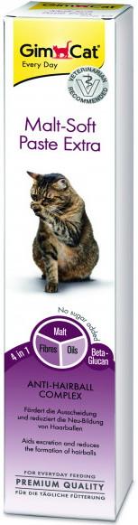 Паста Gimcat для выведения шерсти из желудка кошек | Gimcat Malt-Soft Paste Extra 50 грамм