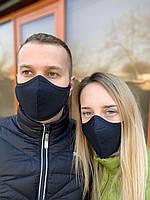 Маска защитная тканевая, многоразовая, черная, тканинні маски, маска на лицо, натуральная ткань, опт