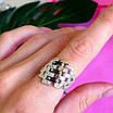 Серебряное кольцо женское с черными фианитами и золотом - Кольцо из серебра с черными камнями, фото 7