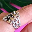 Серебряное кольцо женское с черными фианитами и золотом - Кольцо из серебра с черными камнями, фото 2