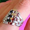 Серебряное кольцо женское с черными фианитами и золотом - Кольцо из серебра с черными камнями, фото 6