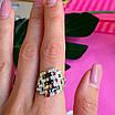 Серебряное кольцо женское с черными фианитами и золотом - Кольцо из серебра с черными камнями, фото 5