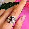 Серебряное кольцо женское с черными фианитами и золотом - Кольцо из серебра с черными камнями, фото 3