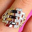 Серебряное кольцо женское с черными фианитами и золотом - Кольцо из серебра с черными камнями, фото 4