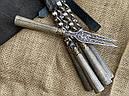 """Набір шампурів ручної роботи з дерев'яними ручками """"Версаль 2"""" + подвійний шампур + виделка, в шкіряному, фото 3"""