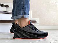 Кроссовки Мужские Весна Хит Серые с Черным в стиле Adidas Sharks