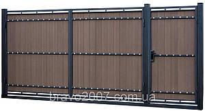 Ворота металлические с композитной доской ПВХ