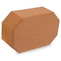 Блок для йоги пробковый Zelart, пробковое дерево, 700гр, р-р 23x15x8см., коричневый (FI-1567)