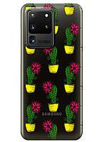 Прозрачный силиконовый чехол iSwag для Samsung Galaxy S20 Ultra Кактусы M1159, КОД: 1604842