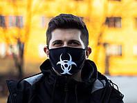 Защитная маска многоразовая чёрная с принтом Virus-Cobra