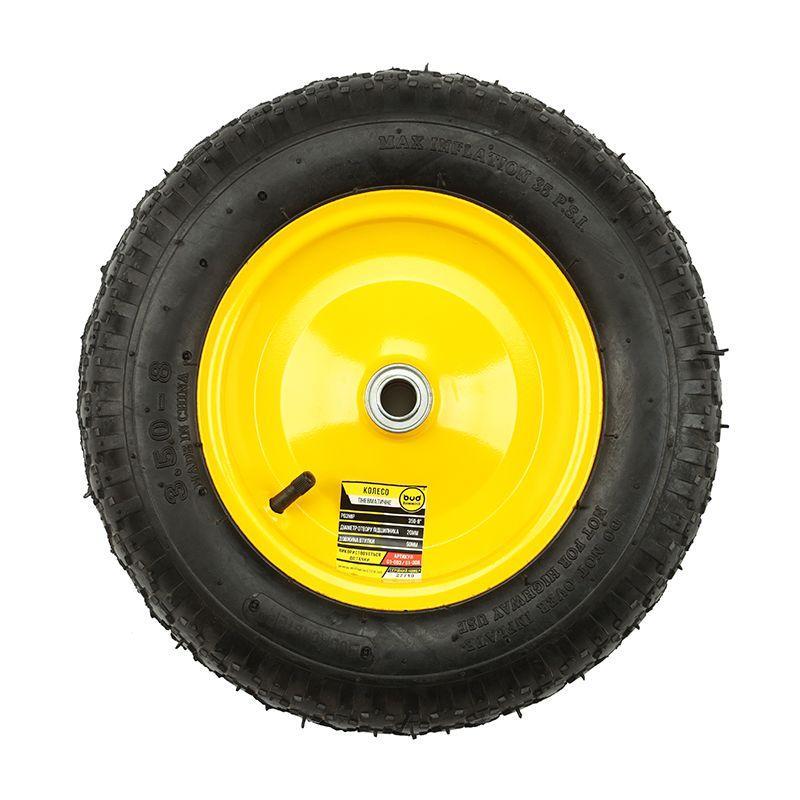 Колесо BudMonster пневмо 3,5х8 ( 01-003,01-008) чорне, диск жовтий, о/d=20, втулка 90 мм