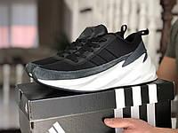 Кроссовки Мужские Весна Хит Черные с Белым в стиле Adidas Sharks