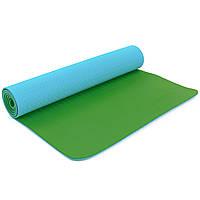 Коврик для фитнеса и йоги двухслойный Zelart 5172 6мм голубой-зеленый