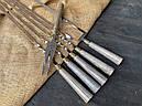 """Набір шампурів ручної роботи з дерев'яними ручками """"Версаль 2"""" + подвійний шампур + виделка, в шкіряному, фото 4"""