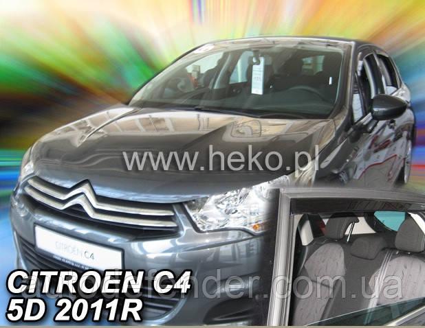 Дефлекторы окон (вставные!) ветровики Citroen C4 5D 2010- 4шт., HEKO, 12251