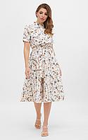 Платье миди в цветочек с коротким рукавом, расклешенной юбкой и лифом на пуговицах