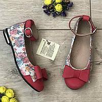 Красные кожаные туфли Берегиня для девочки 26-28 размер
