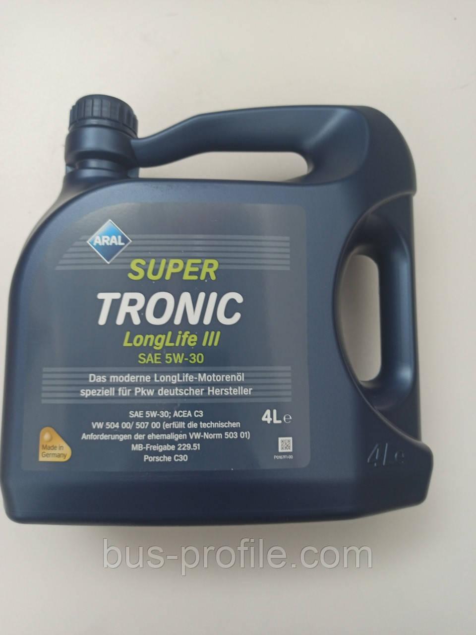 Масло Super Tronic LL III 5W30, 4L VW 504 00/507 00 MB229.51 BMW  — Aral — AR-15C31A