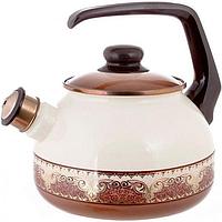 Чайник эмалированный Metrot Терракот 2.5 л со свистком MU-2178 25psg, КОД: 171050