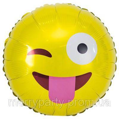"""Смайлик  подмигивающий 18"""" (45 см) круг желтый Китай шар фольгированный"""