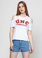 Женская футболка коттон с принтом и разрезами UNC 8191 Белый