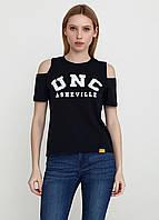 Молодежная женская футболка коттон с принтом и разрезами UNC 8191