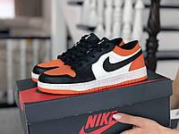 Кроссовки Nike Air Jordan 1 Low, белые с черным и оранжевым, 36р. по стельке 22,9см