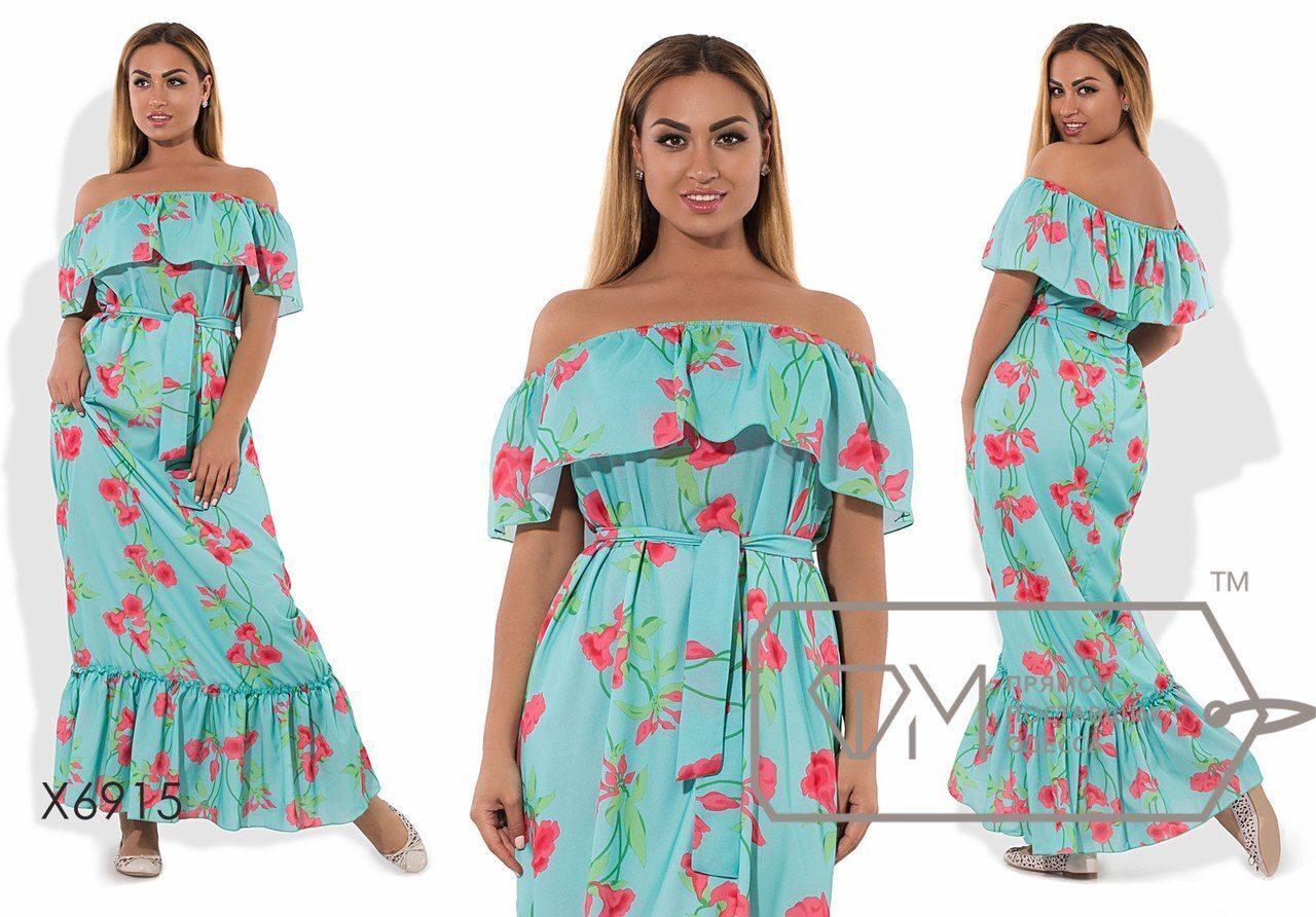 """Шикарное женское платье в пол ткань """"Шифон"""" на подкладке 48 размер батал"""
