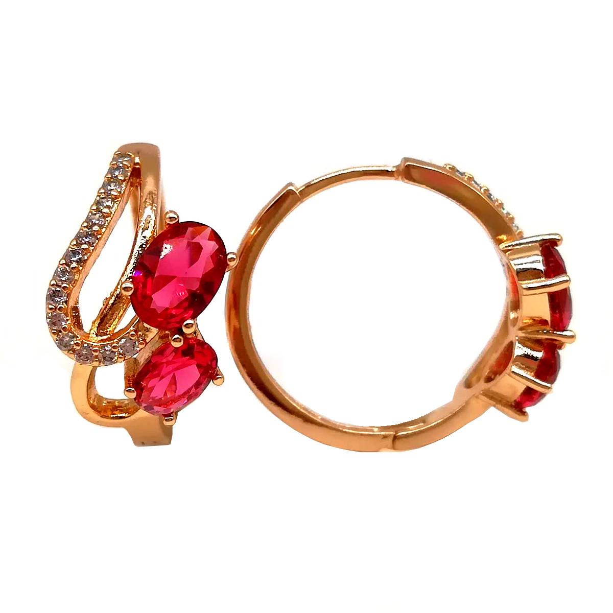 Серьги Xuping из медицинского золота, красные фианиты, позолота 18К, 23681       (1)