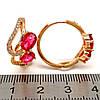 Серьги Xuping из медицинского золота, красные фианиты, позолота 18К, 23681       (1), фото 2