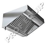 Зонт вытяжной пристенный с жироулавливателями из нержавеющей стали