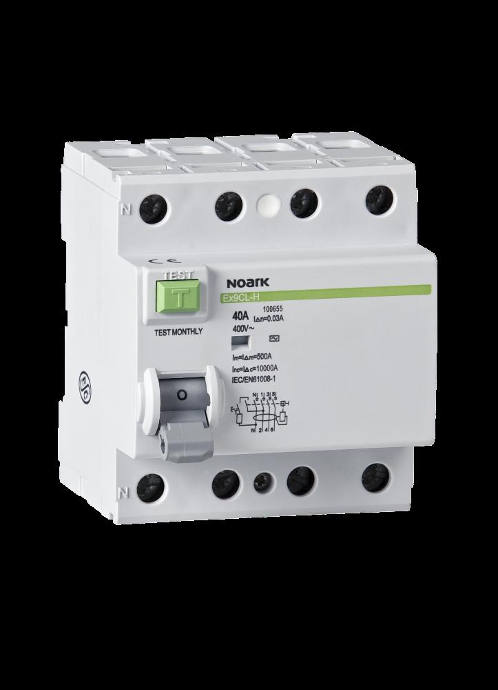 Дифференциальный выключатель (УЗО) Noark 10кА 40А 4P 30mA тип AC Ex9CL-H 100655