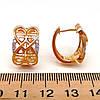 Серьги Xuping из медицинского золота, белые фианиты, позолота 18K, 23707       (1), фото 2