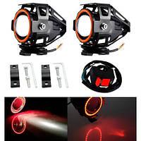 Фары прожекторы для мотоцикла U7 LED 12В 3000лм Angel Eyes красные + кнопка