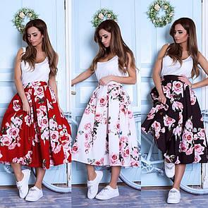 Пышная юбка с розами
