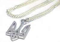 """Кулон """"Тризуб"""" трезубец 25x13 мм серебро на серебряной цепочке, фото 1"""