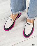 Стильные кожаные туфли женские лоферы, фото 5