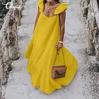 Желтое, горчичное платье сарафан из натурального льна, и другие цвета в наличии, фото 1