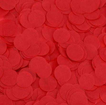 Конфетти красные кружочки - 10г, размер одного кружка около 2,5см, бумага