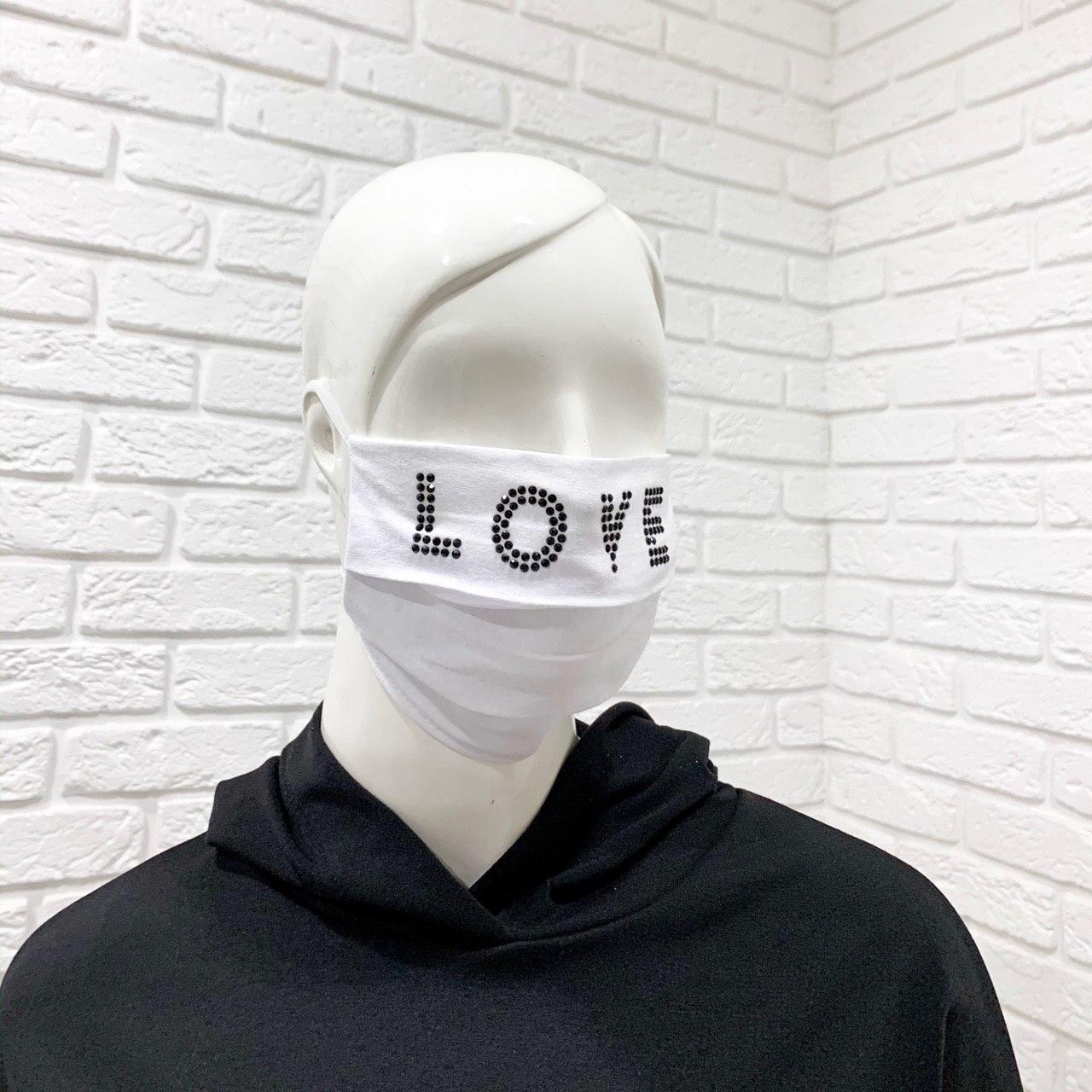 Многоразовая хлопковая защитная маска со стразами